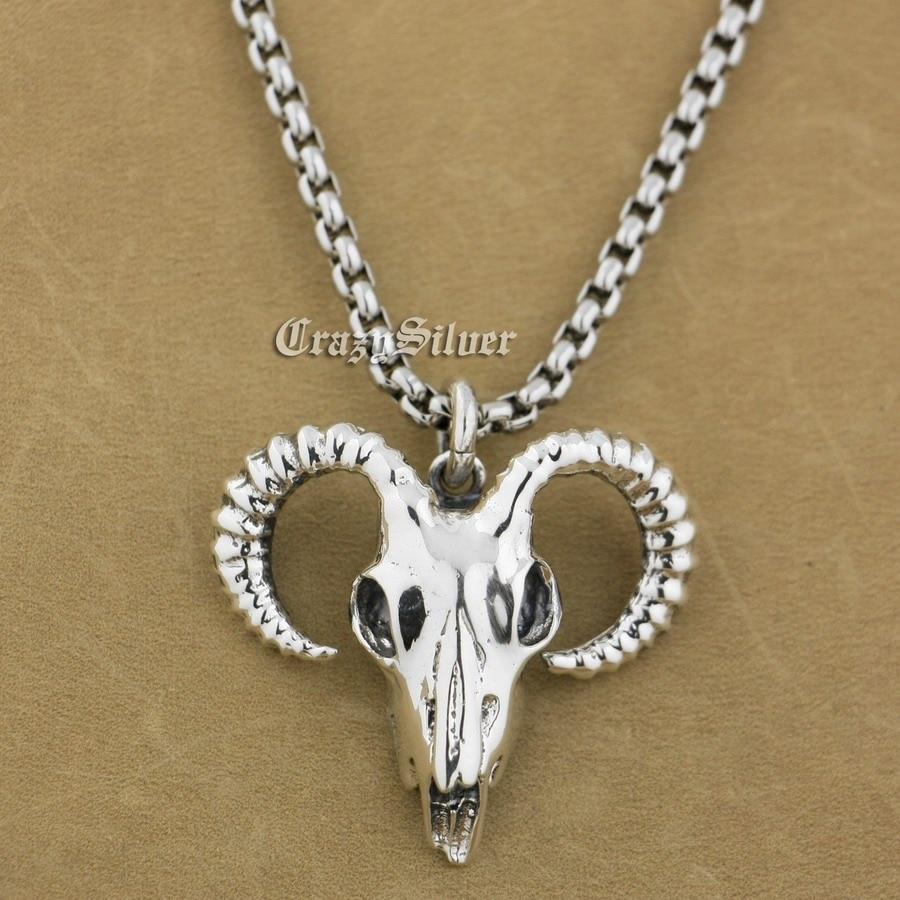 925 Sterling Silver Argali Skull Mens Biker Pendant 9S008A Steel Necklace 24 solid 925 sterling silver skull mens biker pendant 8c011 with matching stainless steel necklace