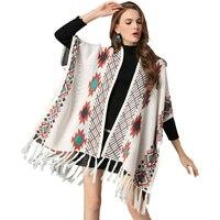Knitted Kimono Cardigan Sweater Autumn Long Batwing Sleeve Split Tassel Ethnic Pattern Vintage Boho Warm Women