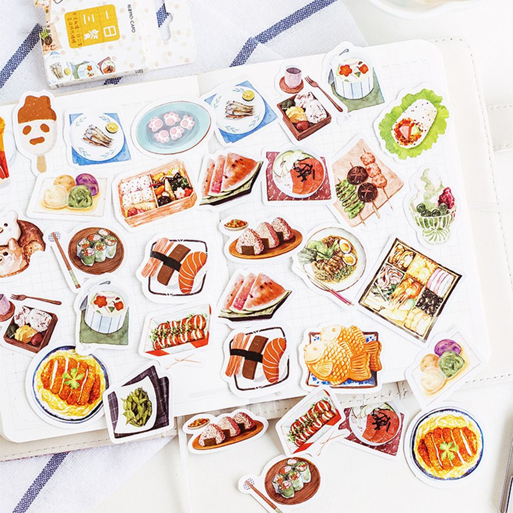 DIY Delicious Food Sushi Meals Decoration Adhesive Stickers Cartoon Diary Scrapbook Kawaii Stationery Stickers 46PCS/set