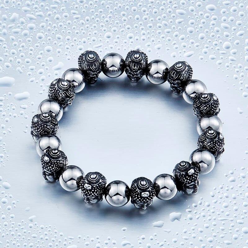 Men Bracelet Buddhism Stoving Varnish Elastic Jewelry Titanium Steel Sakyamuni Devil Skull Beaded Bracelets For Men BC8-033