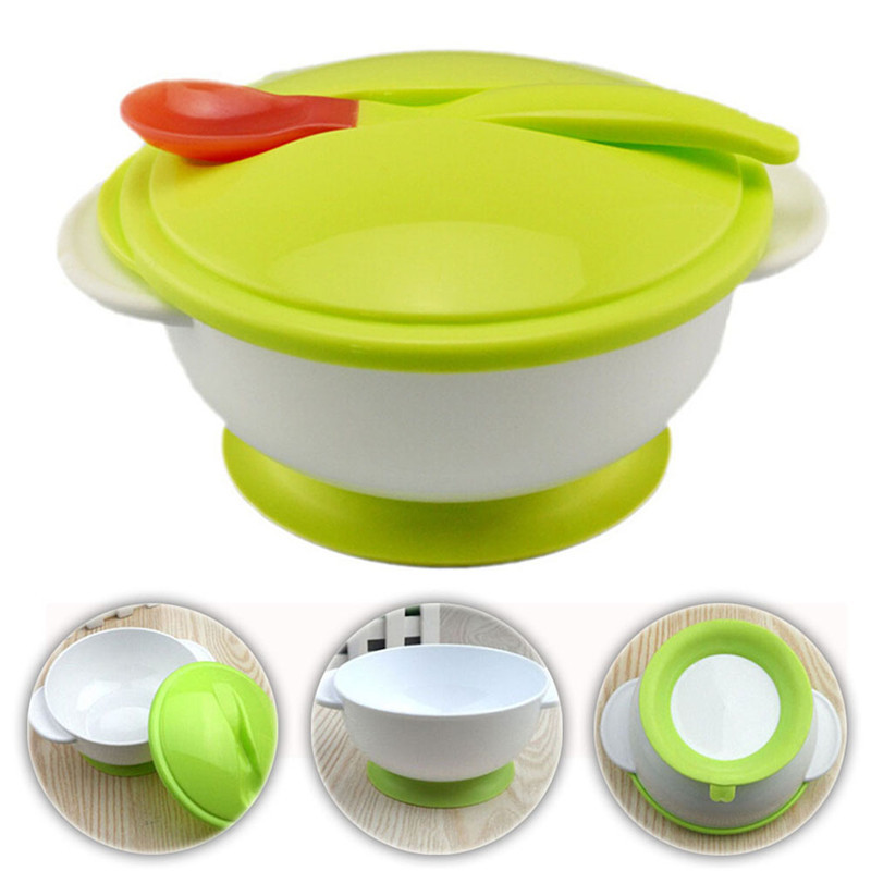 Infant Non-Slip Feeding Training Suction Cup Bowl Dishes Tableware Multi Color N
