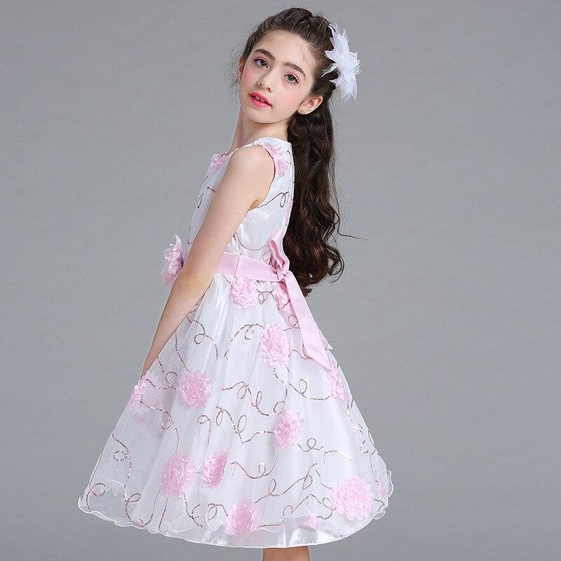 2018 Summer Flower Dress for Girls Wedding Party Princess Dresses Girls Floral Print Dress Birthday Vestidos Children Clothes цена