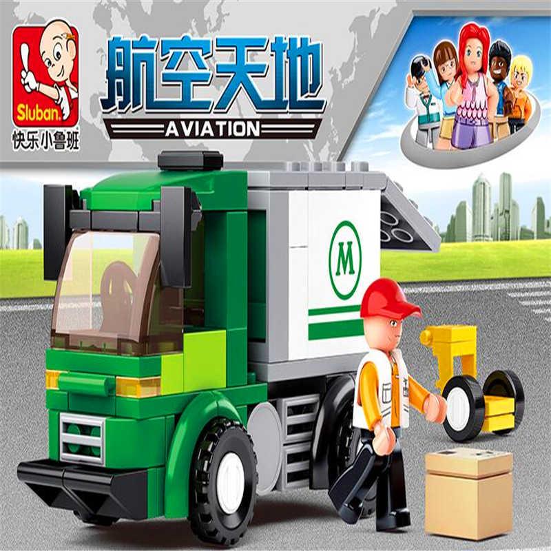 Sluban 0368 Penerbangan City Express Van Truk Blok Bangunan Bata Kompatibel Legoe Teknik Playmobil Mainan untuk Anak