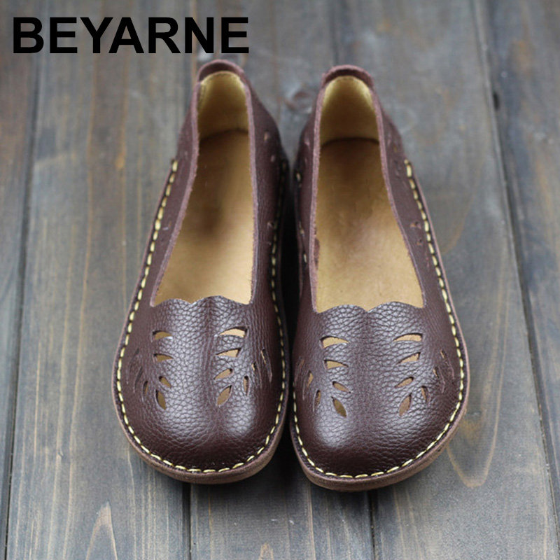 BEYARNE Women's Shoes Genuine Leather Slip on Ladies Flat Shoes Round to Hollow out Breathable Summer Shoes Female Footwear 2018 women summer slip on breathable flat shoes leisure female footwear fashion ladies canvas shoes women casual shoes hld919