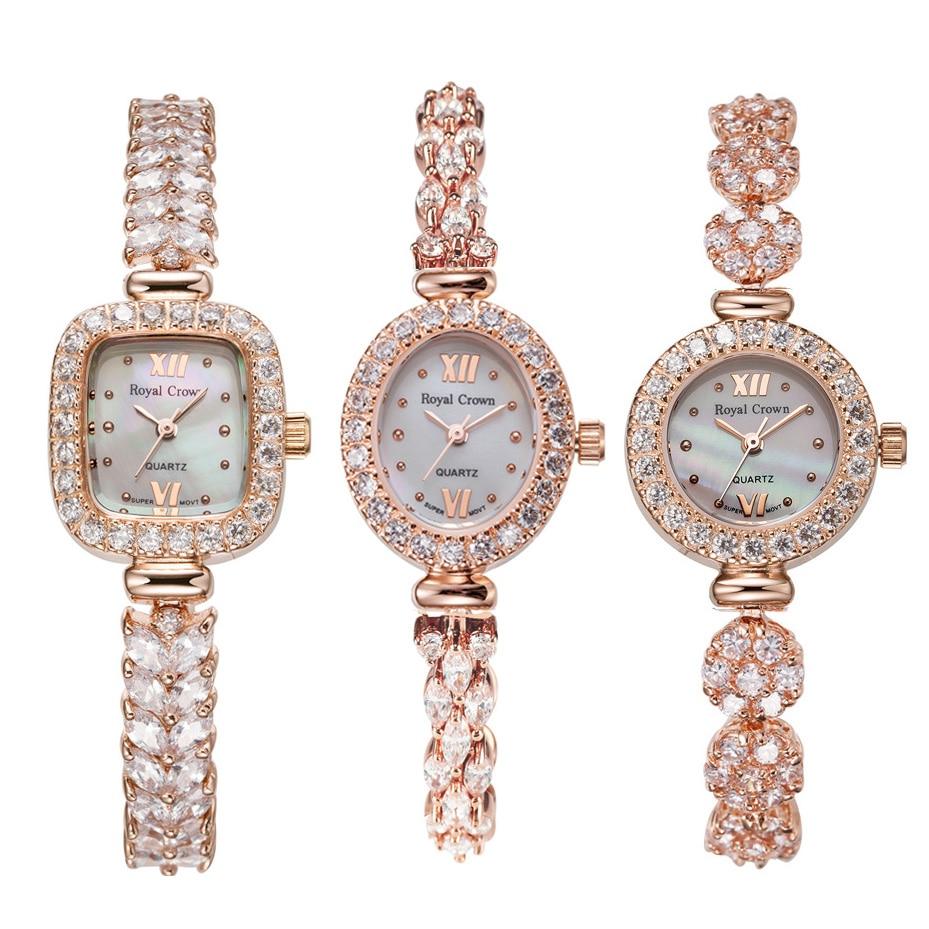 Royal Crown Lady Women s Watch Japan Quartz Jewelry Hours Fine Fashion Clock Claw setting Crystal