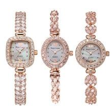Koninklijke Kroon Dame Vrouwen Horloge Japan Quartz Sieraden Uur Fijne Mode Klok Klauw Instelling Kristal Armband Luxe Meisje gift