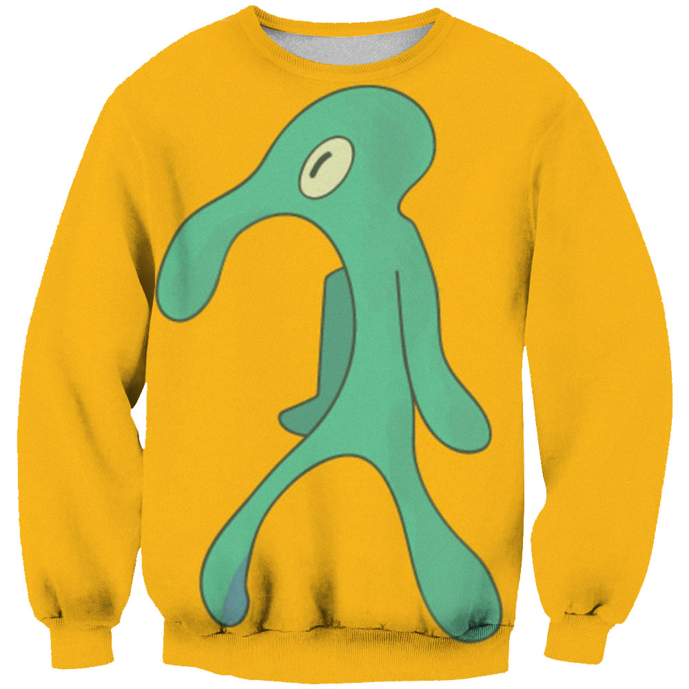 2019 New Cartoon Hoodies Fashion Men's 3D Octopus Printed Yellow Sweatshirts Casual Tracksuits Tops Casual Slim Thin