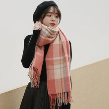 Classic Plaid Winter Scarf For Women Beret Hats and Scarves Set Cashmere Tassel Shawl Hat Pashmina Ladies
