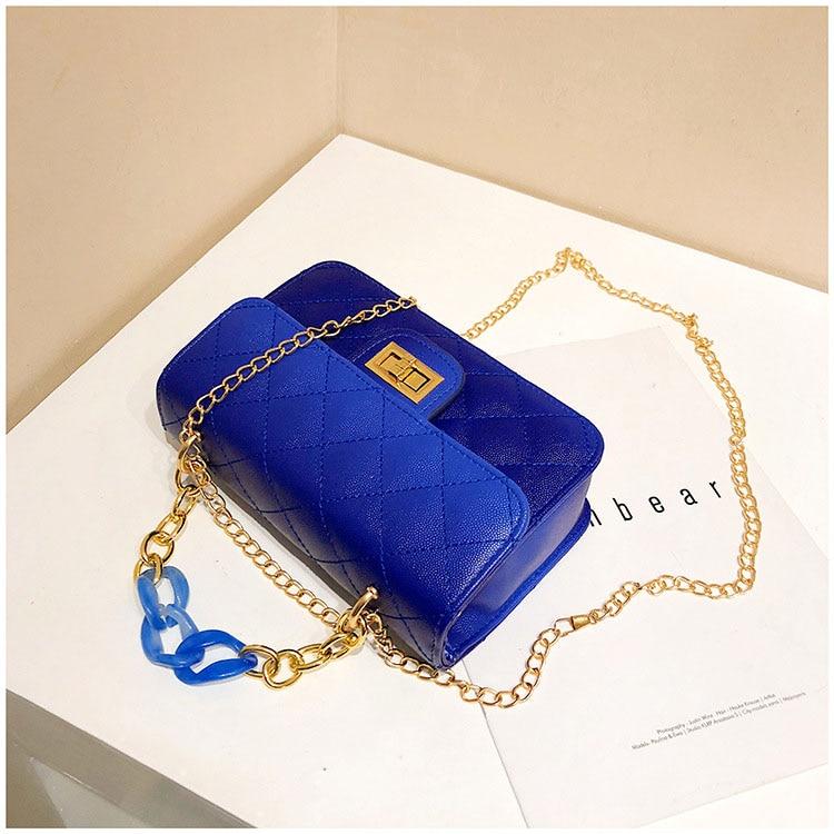 Luxury Women Classic handbag Designer Pink Blue Gradient PU Leather Lingge Shoulder Bag (3)