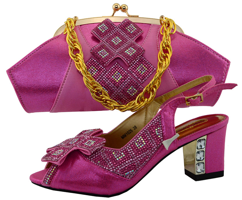 fuchsia Color Italy Shoe and Bag Set Italian Matching Shoes and Bag Set for Wedding African Women Shoe and Bag To Match  PUW1-43 mf012 african shoes and bag set for nigeria lady black color italian style fashion italy shoe and bag to matching party