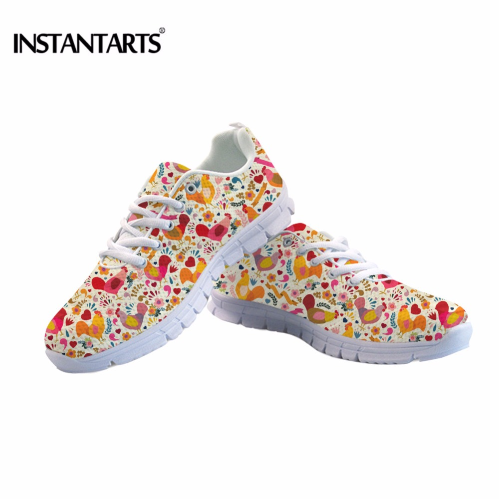 INSTANTARTS Adorable Chicken Pattern Sneakers for Women Air Mesh Breathable Female Casual Lace Up Flats Woman Animal Flat Shoes in Women 39 s Flats from Shoes