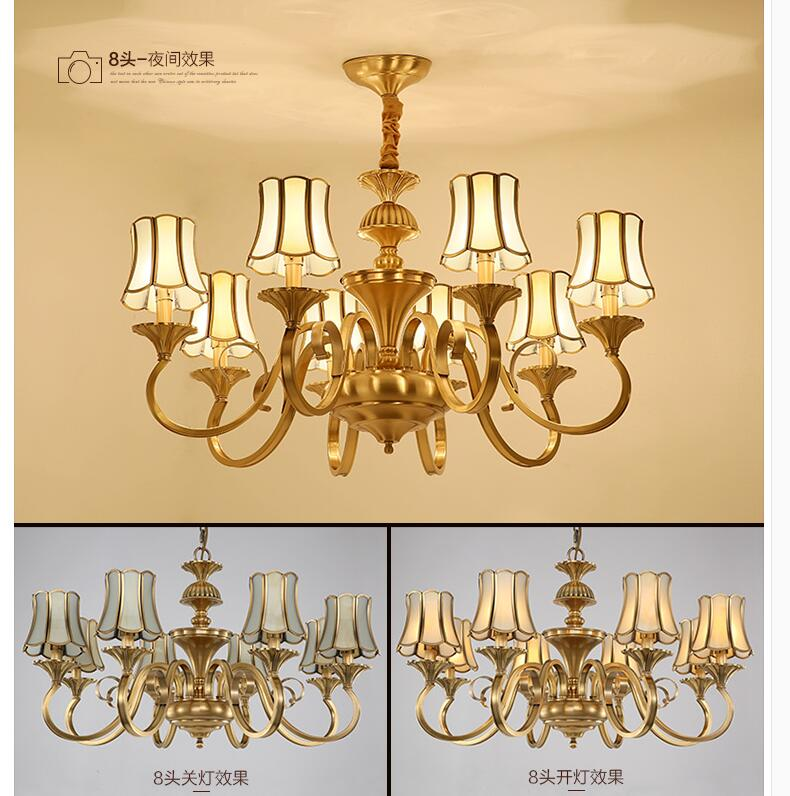 European Candle Copper Modern Chandelier Light Antique Brass Design Led Lighting Decoration Lamp Study Bedroom In Chandeliers From Lights