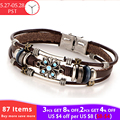 17KM 2 Style Vintage Flower Bracelets & Bangle Boho Multiple Layers Leather Bracelet Handmade Female Punk Jewelry for Women Man