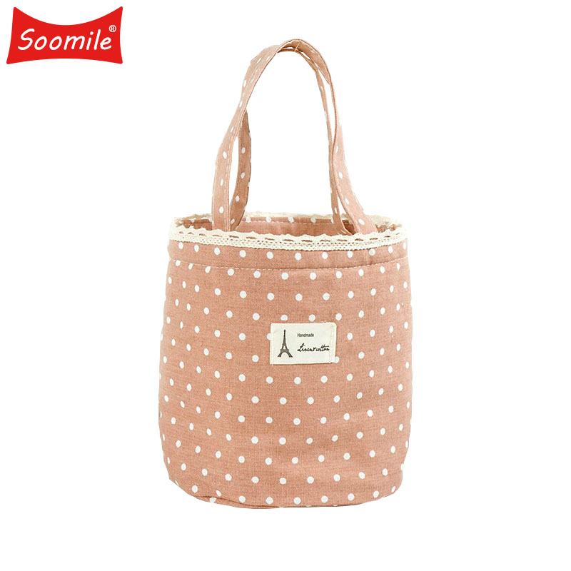 Korean Cotton cylindrical lunch cooler bag Food thermal insulation handbag for student men women Kids picnic bags Drop shipping ...