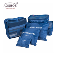 6pcs Families Travel Clothes Underwear Socks Separated Bags Packing Cube Luggage Bag Organizer For Six Sizes