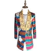 Colorful Sequin Blazer Men 2018 New Long Blazer Suit Jacket Gold Green Pink Prom Blazers For Men Stage DJ Singer Clothing 5xl