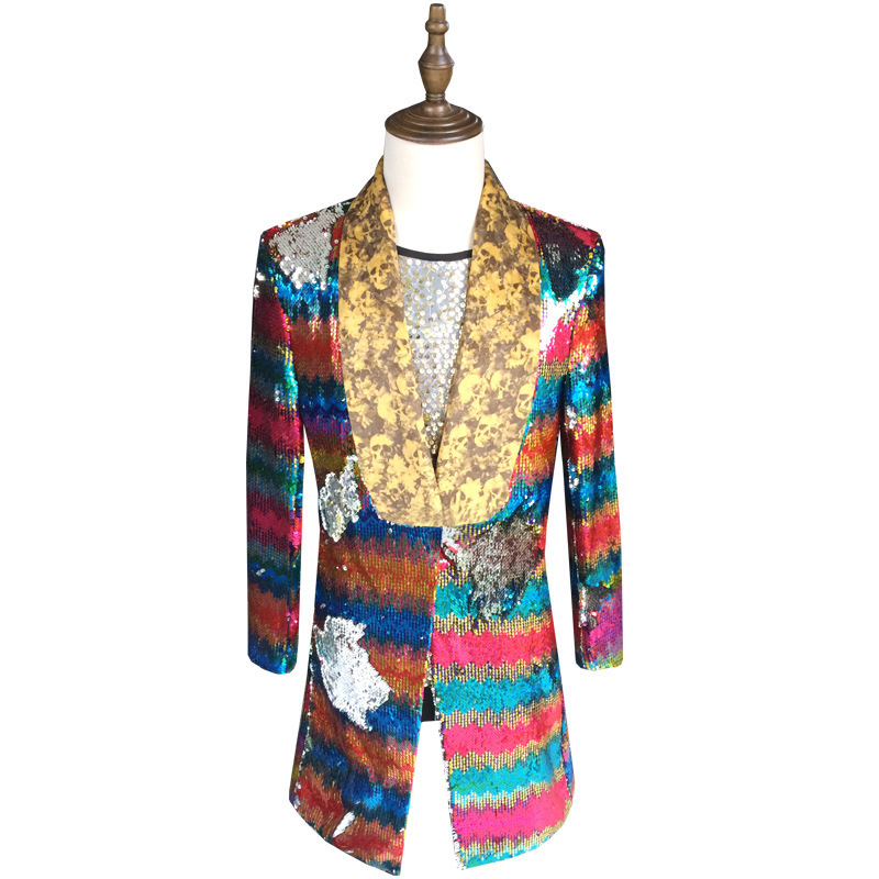 Colorful <font><b>Sequin</b></font> Blazer <font><b>Men</b></font> 2018 New Long Blazer Suit <font><b>Jacket</b></font> Gold <font><b>Green</b></font> Pink Prom Blazers For <font><b>Men</b></font> Stage DJ Singer Clothing 5xl image