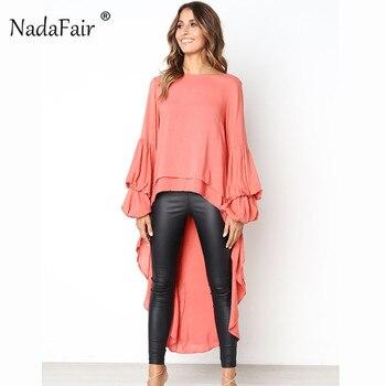 add68f5c8fd Nadafair плюс размеры Свободная блузка для женщин осень фонари с длинным  рукавом оборками drop hem повседневное шифон рубашки для мальчико