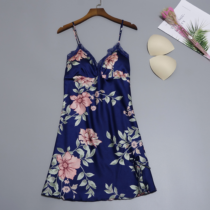 Ladies Floral Silk Satin   Nightgown   Lace Night Dress Sleeveless Nighties V-neck   Sleepshirt   Summer Sleep Dress Nightdres For Women