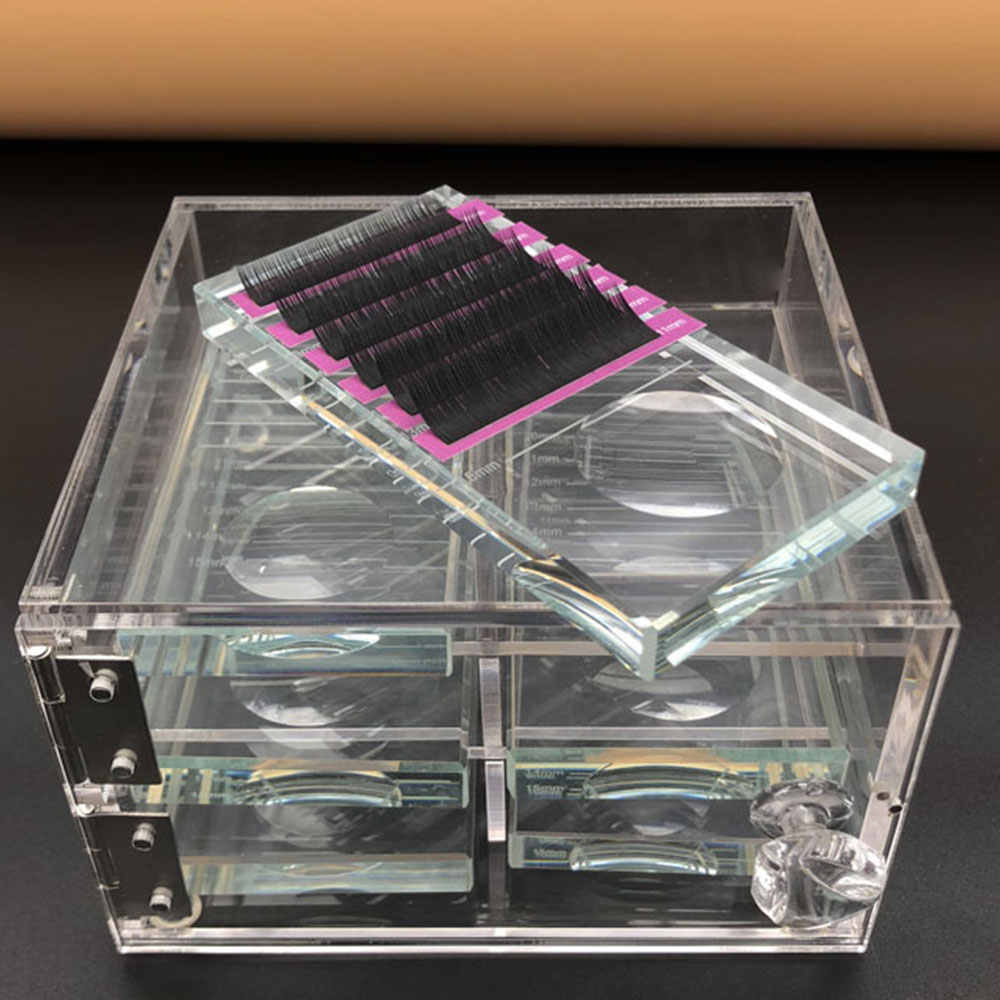 False Eyelash Storage Box Transparent Acrylic Case Eyelash Cosmetic Makeup Storage Box Eyelashes Stand Tools Wholesale Price