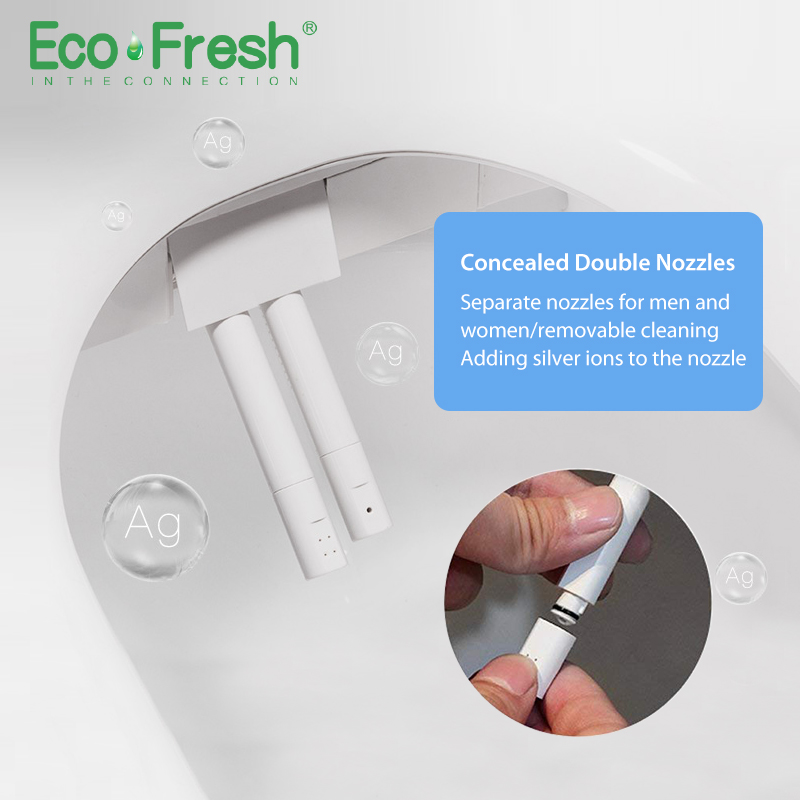 Ecofresh Smart toilet seat D shape Electric Bidet cover heat double nozzle soft wash dry massage fit wall mounted toilet in Toilet Seats from Home Improvement