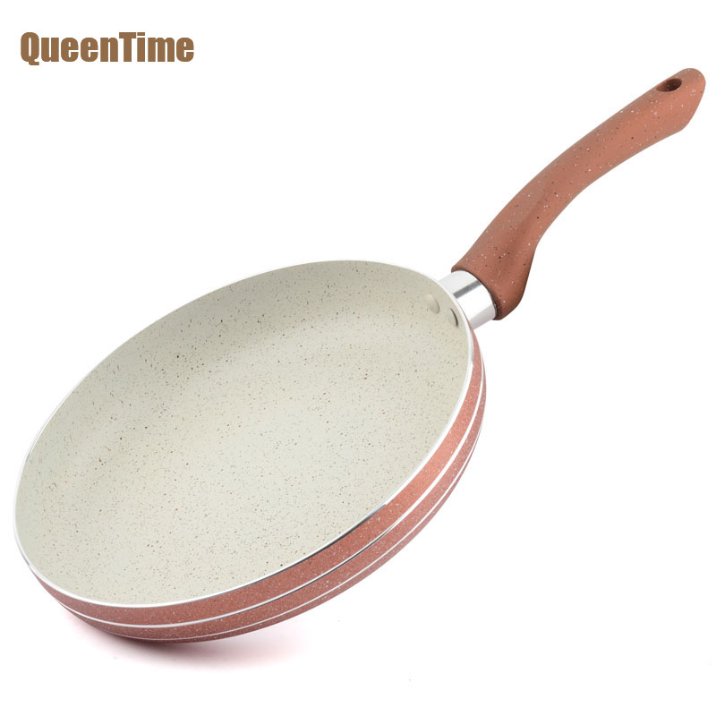 QueenTime Round Shape Frying Pans 12 Inch Multifunctional Cooking Pan Only Use for Gas Fry Egg Steak Pan Professional Cookware