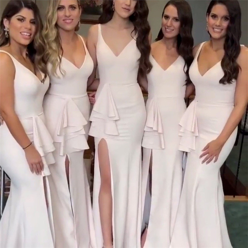 Long   Bridesmaid     Dresses   For Wedding Party V Neck High Slit Sexy Mermaid Cheap Maid Of Honor Gowns 2019 African Bride Prom   Dress