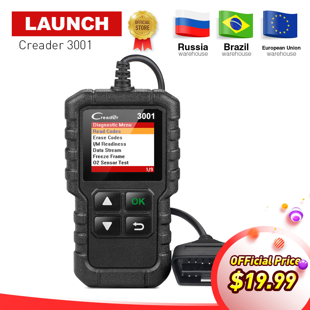 LAUNCH X431 Creader 3001 Full OBD2 OBDII Code Reader Scan tools OBD 2 CR3001 Car Diagnostic tool PK AD310 NL100 OM123 Scanner 2016 new arrival vs 890 obd2 car scanner scantool obdii code reader tester diagnostic tools 3 inch lcd car detector