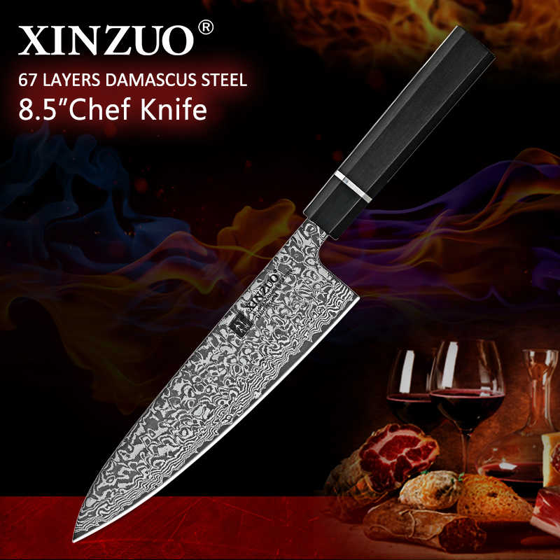 XINZUO 8.5'' inch Chef Kitchen Knife Steel VG10 Damascus Steel Santoku Slicing knife High Carbon Stainless Steel Cooking Knives