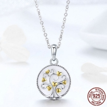 MYBEBOA Real 925 Sterling Silver Tree of Life Pendant Necklaces Women Gold Heart Tree Necklace Sterling Silver Jewelry