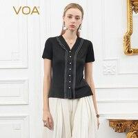 VOA шелка вязать черный Для женщин футболка летние шорты рукавом Дамы топы перламутровыми пуговицами Тонкий Эластичность v образным вырезом