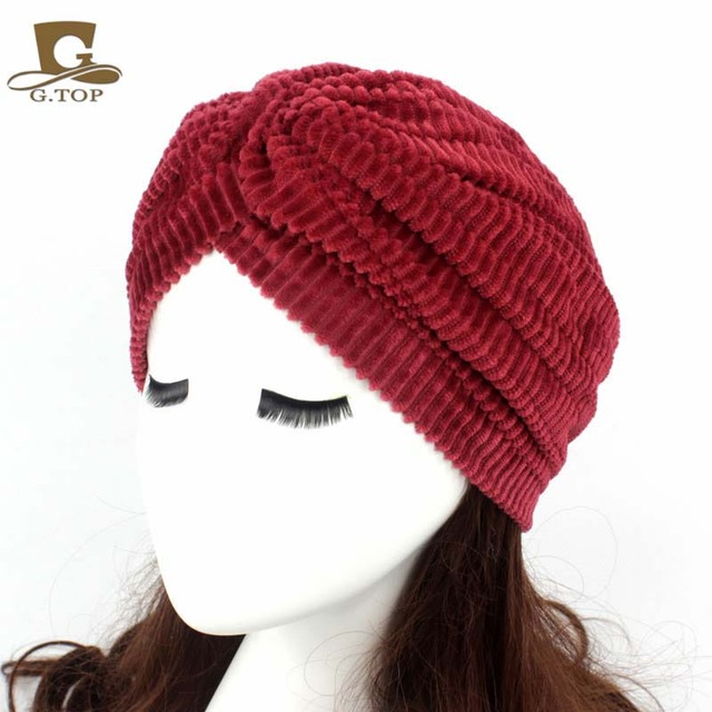4087b2bbf234f 2016 New Fashion Women Coral Velvet Pleated Turban Hijab Hair Loss Cancer  Head Scarves Chemotherapy Alopecia Caps Turbante Hat