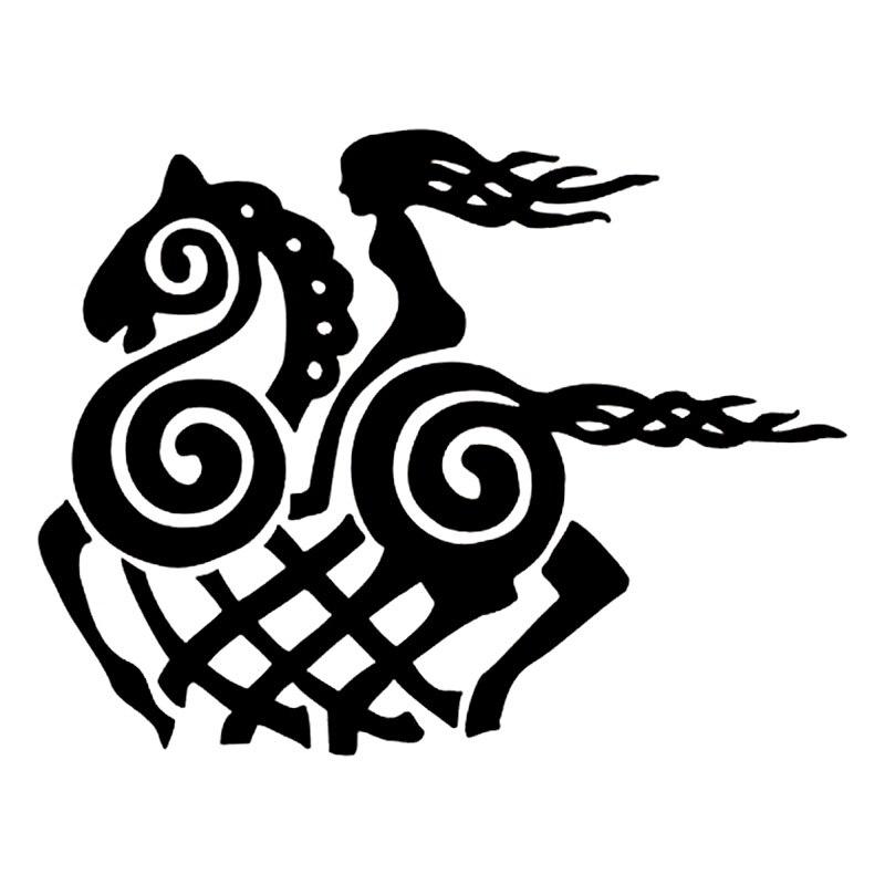 12.7cm*9.8cm Cartoon Viking Goddess Horse Vinyl Decal Black/Silver Car Sticker Fashion Car-styling S6-2877