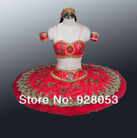 Adult Red/Green/Blue Ballet Tutu Professional Tutus Girls Arabesque Split Type Headwear 10 Layers Hard Tulle Skirt AT0079