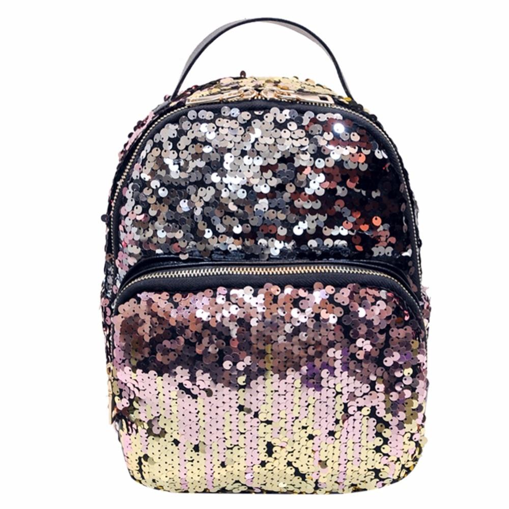 Mini PU+Sequins Backpack Women School Bags Princess Bling Backpack Bag All-match Small Travel Sequins Backpack Mochila Feminina