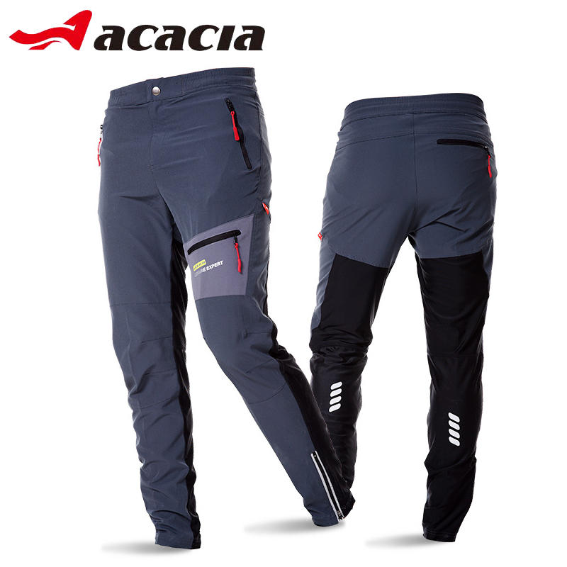 ACACIA  Black Grey Breathable Soft Bicycle Safety Reflective Elastic Waist Pants Spring Autumn Men Cycling Long Pants 02997 oumily reflective multi purpose paracord nylon rope cord reflective grey 30m 140kg