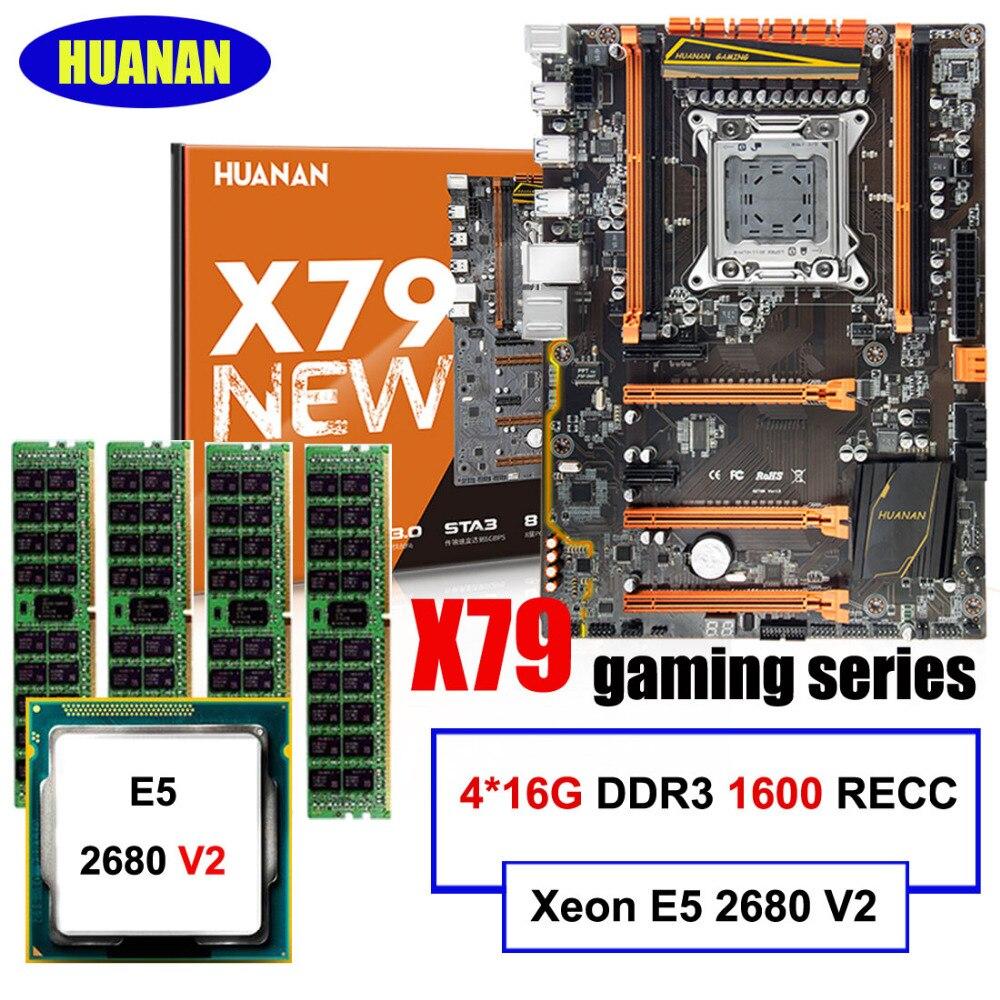HUANAN игровой материнской платы набор Делюкс X79 материнская плата Xeon E5 2680 V2 Оперативная память 64 г (4*16 г) 1600 мГц DDR3 RECC построить идеальный компь...