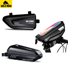 WILDMAN Waterproof Front Frame Handlebar Top Tube Bike Bag Touch Screen Cell Phone Bag Triangle Hard Shell Bag Tail Saddle Bag ring front saddle bag