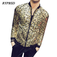 2018 Spring Bomber Jacket Men Gold Plaid Fashion Shiny Night Club Singer Stage Performance Streetwear Men Jackets and Coats 5XL