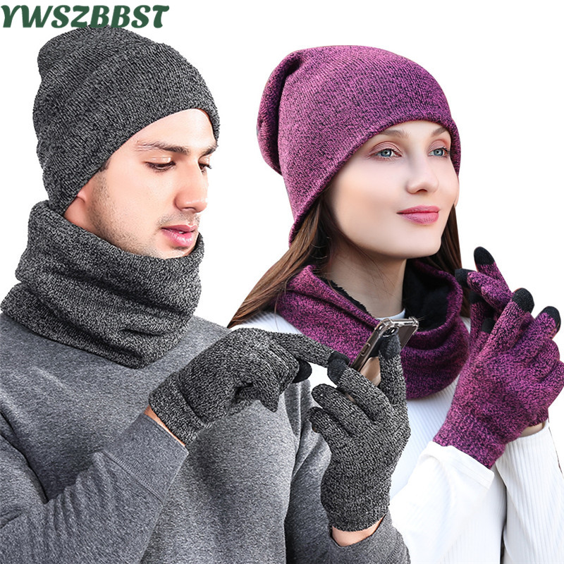 Fashion Knitted Men Outdoor Beanie Plus Velvet Women Hat Scarf Glove Sets Autumn Winter Men Warm Scarf Hat Glove Women Hats Caps