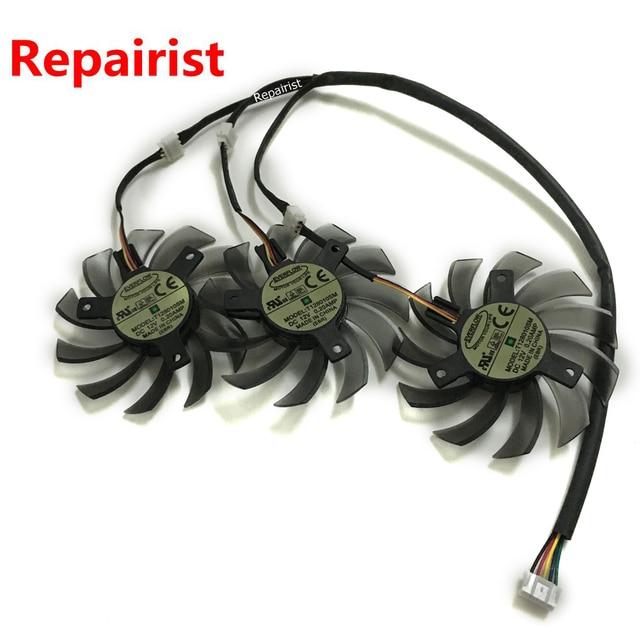 3 Pcs/lot T128010SM 75MM DC 12V 5pin prise dalimentation 3Pin simple carte graphique ventilateur refroidisseur pour HD6870 Gigabyte comme remplacement
