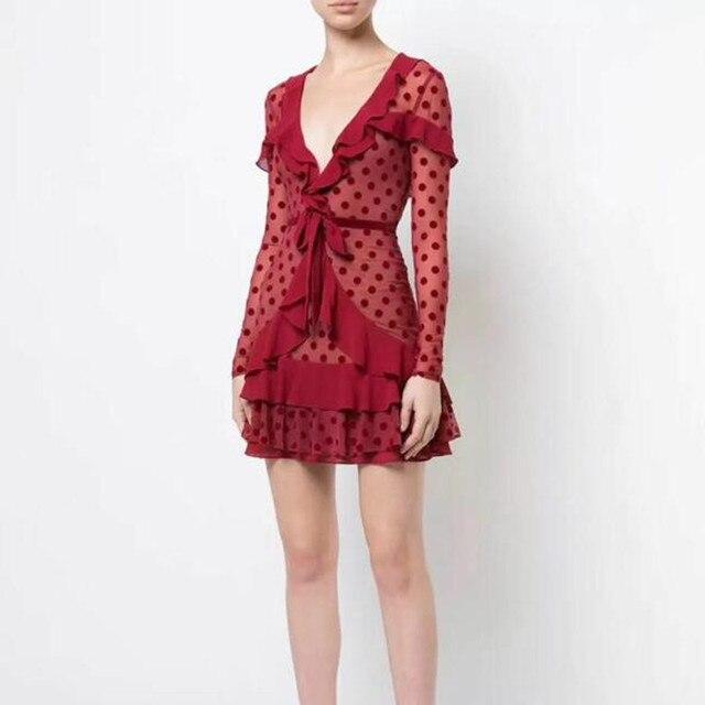 1b3b642a28cb Women Red Long Sleeve Lace Plum Dot Print Ruffle Sexy Deep V Neck Mini Dress