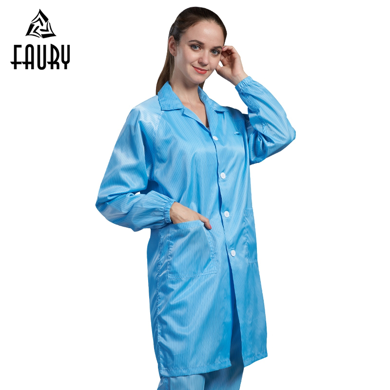Women Men Anti-static Clean Clothing Electronics Food Factory Dust-proof Work Uniforms Single-breasted Overalls Protective Coats