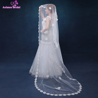 AOLANES Ivory 2.5 Meters Long Bridal Veils With Flowers Appliques Edge Wedding Veil Wedding Accessories 2018