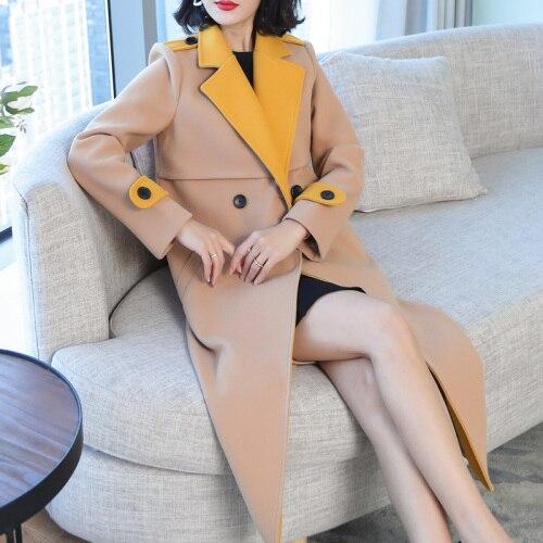 Casaco Vogue Femmes Lady Élégant Cardigan Coupe Manteau Longue De Feminino Office Tranchée vent Imperméable Pour Laine Jaune Vent Femelle Hww4qO