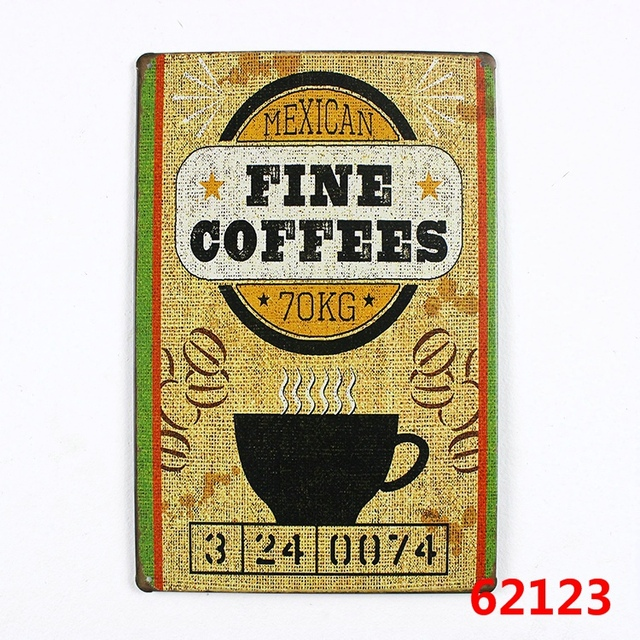 Mexican fine coffees! retro metal signs vintage tin plate iron ...