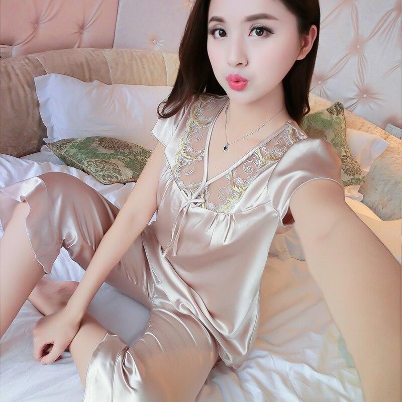 WLK Women Sexy Silk Satin Pajama Set Short Sleeve Pyjama Femme Embroidery  Pijama Set V neck Sleepwear Plus Size Nightwear 7020-in Pajama Sets from  Underwear ... 3454aa553