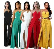 Elegant Evening Strapless Jumpsuit Boot Cut Pants Romper Thigh High Split Party Occasion Yellow White Wide Leg Jumpsuits(China)