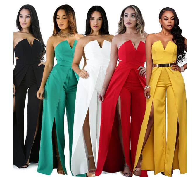 Elegant Evening Strapless   Jumpsuit   Boot Cut Pants Romper Thigh High Split Party Occasion Yellow White Wide Leg   Jumpsuits