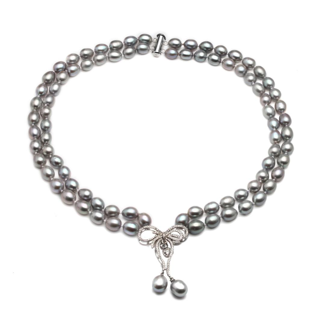 Image 2 - Свадебное ожерелье из натурального пресноводного жемчуга для женщин, колье из двух нитей культивированного жемчуга, ювелирное изделие-in Ожерелья from Украшения и аксессуары
